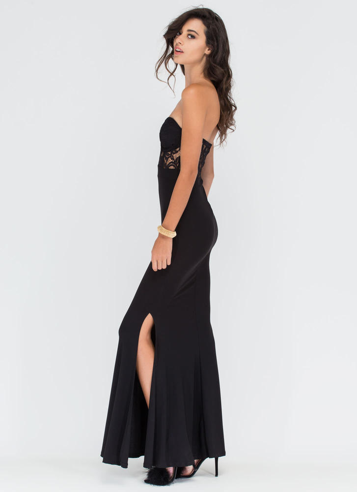 Dancing Queen Strapless Lace Maxi Dress BLACK