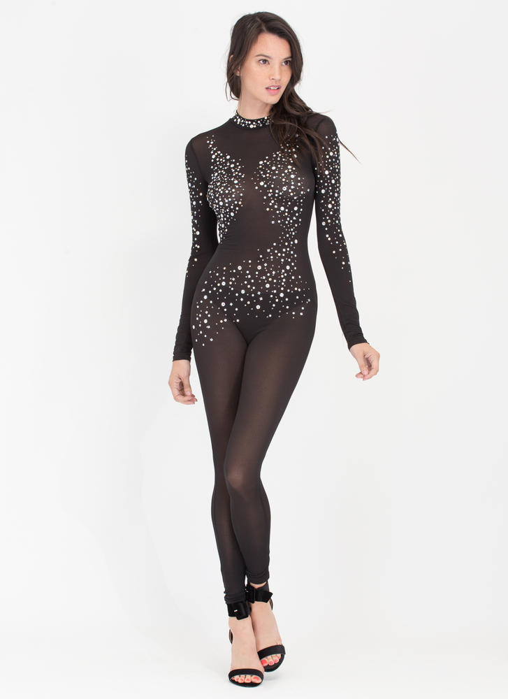 Glow Getter Sheer Embellished Jumpsuit BLACK