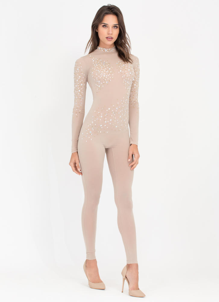 Glow Getter Sheer Embellished Jumpsuit