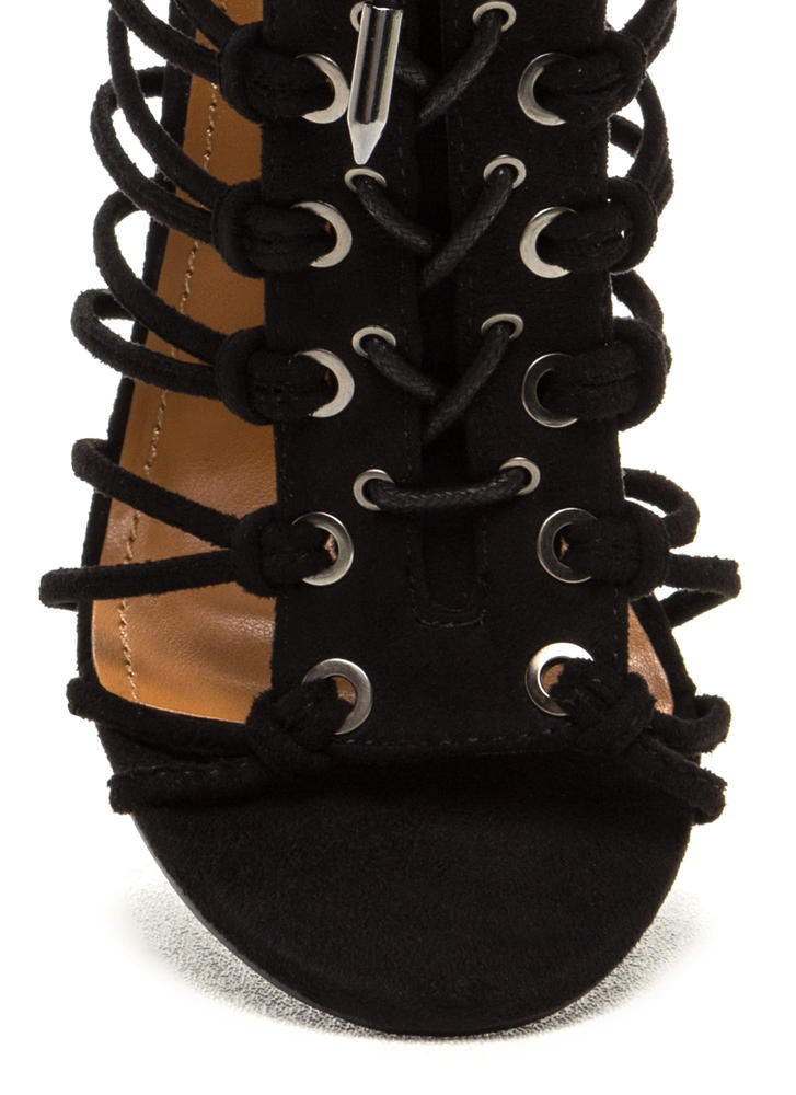 Knotty Girl Chunky Caged Lace-Up Heels BLACK