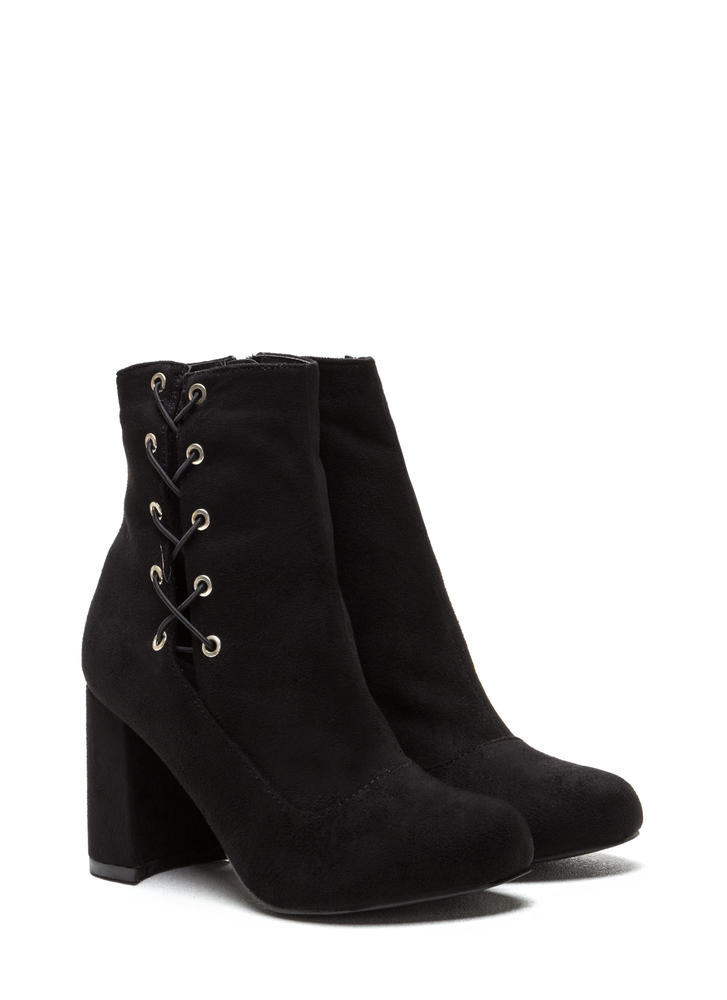 Lace To The Top Chunky Booties BLACK