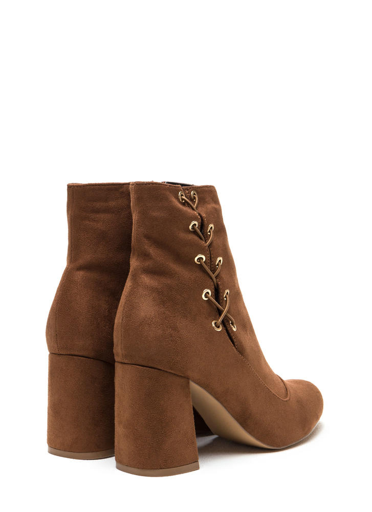 Lace To The Top Chunky Booties BROWN (Final Sale)