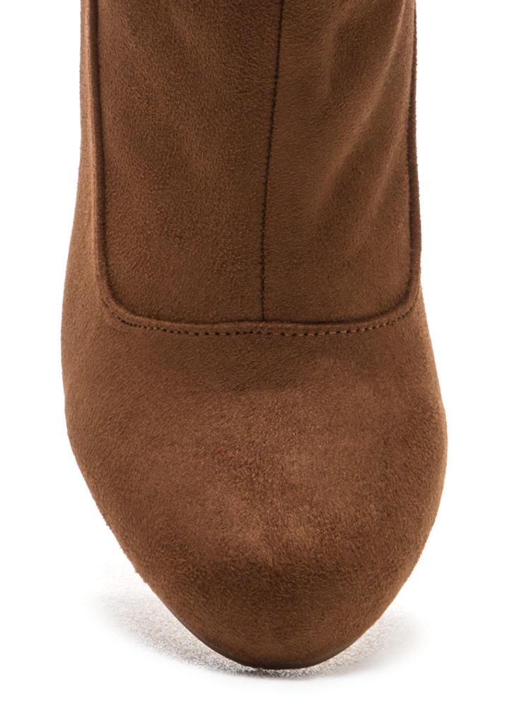 Lace To The Top Chunky Booties BROWN