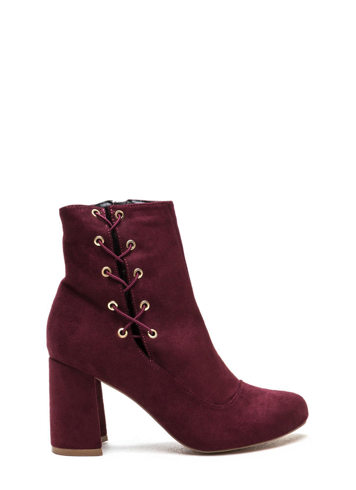 Lace To The Top Chunky Booties BURGUNDY (Final Sale)