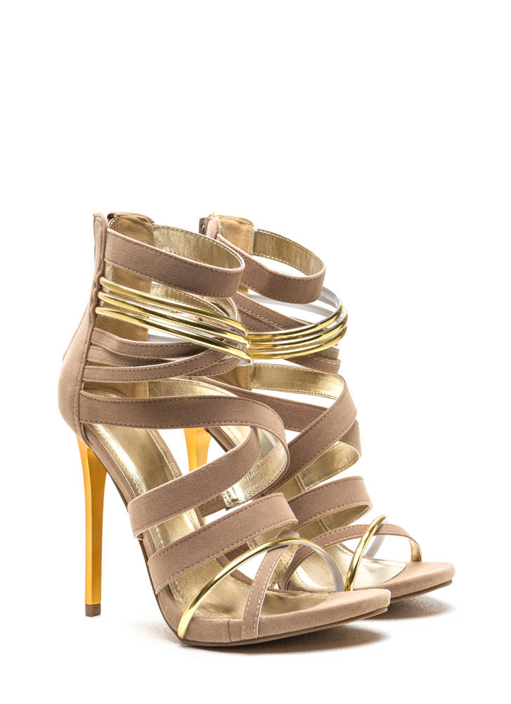 Night Show Strappy Caged Heels NUDE