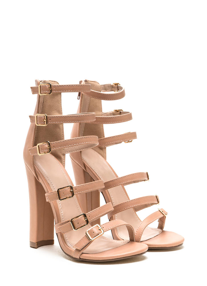 Right 'N Rung Strappy Chunky Heels TAUPE