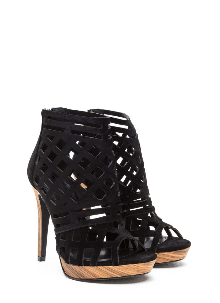 A Cut Above Caged Wood Heels BLACK