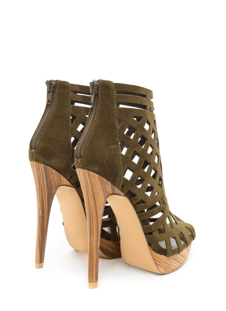 A Cut Above Caged Wood Heels OLIVE