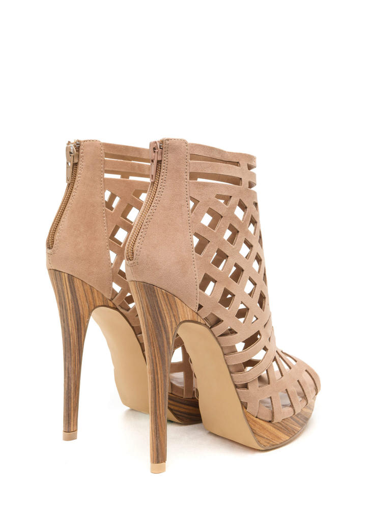 A Cut Above Caged Wood Heels TAUPE