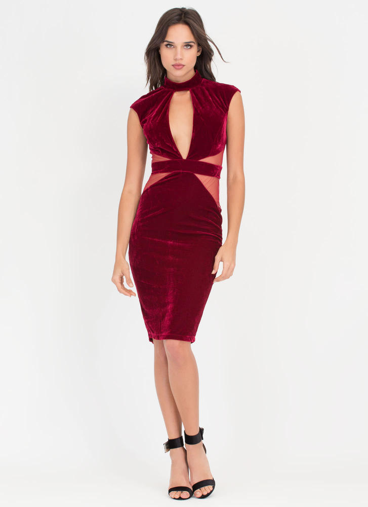 Velvet Vibe Sheer Plunging Bodycon Dress