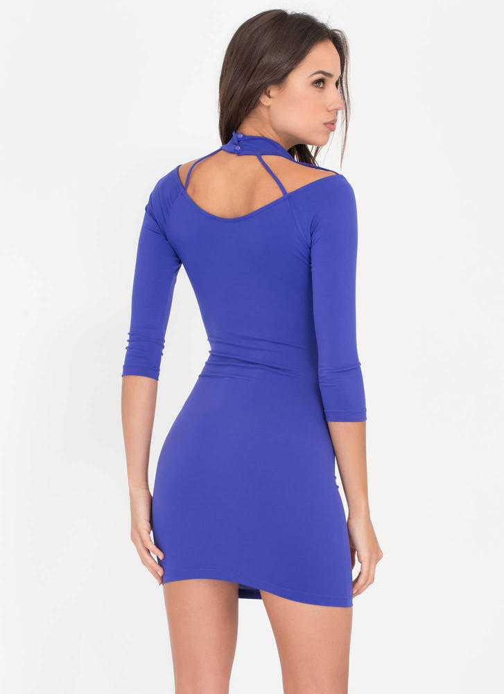 Cocktail Hour Caged Minidress ROYAL