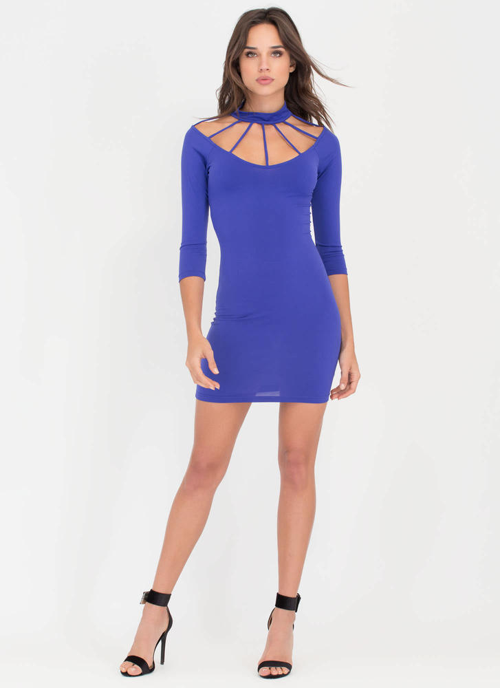 Cocktail Hour Caged Minidress ROYAL (Final Sale)