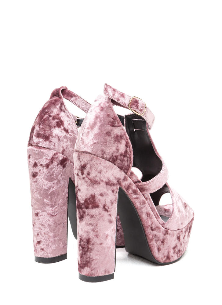 Crushing Blow Chunky Velvet Heels BLUSH