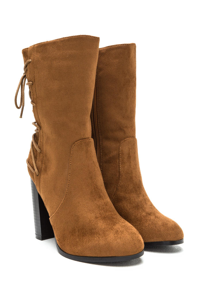 Haute Outlook Chunky Lace-Back Booties CAMEL