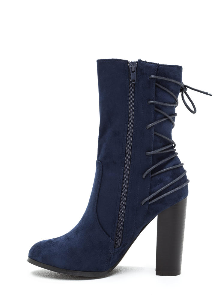Haute Outlook Chunky Lace-Back Booties NAVY