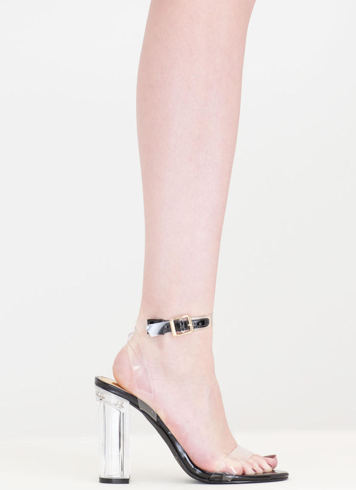 Clear And Present Danger Chunky Heels BLACK