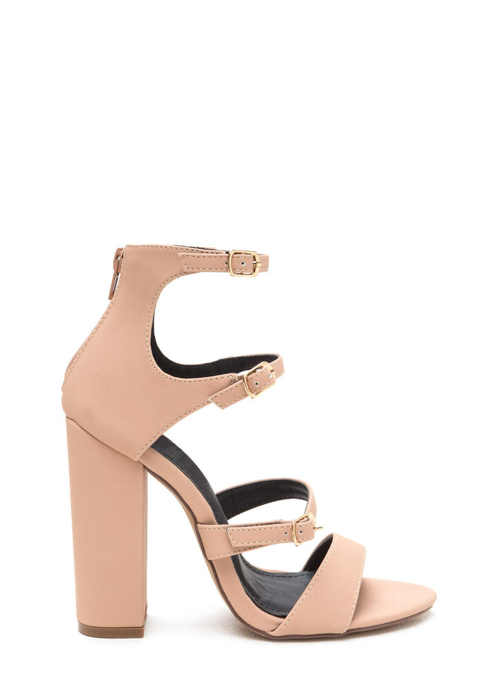 Strap In Chunky Caged Faux Nubuck Heels NUDE (Final Sale)