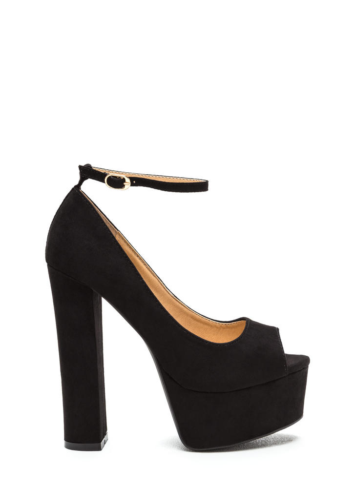 So Groovy Chunky Ankle Strap Platforms BLACK