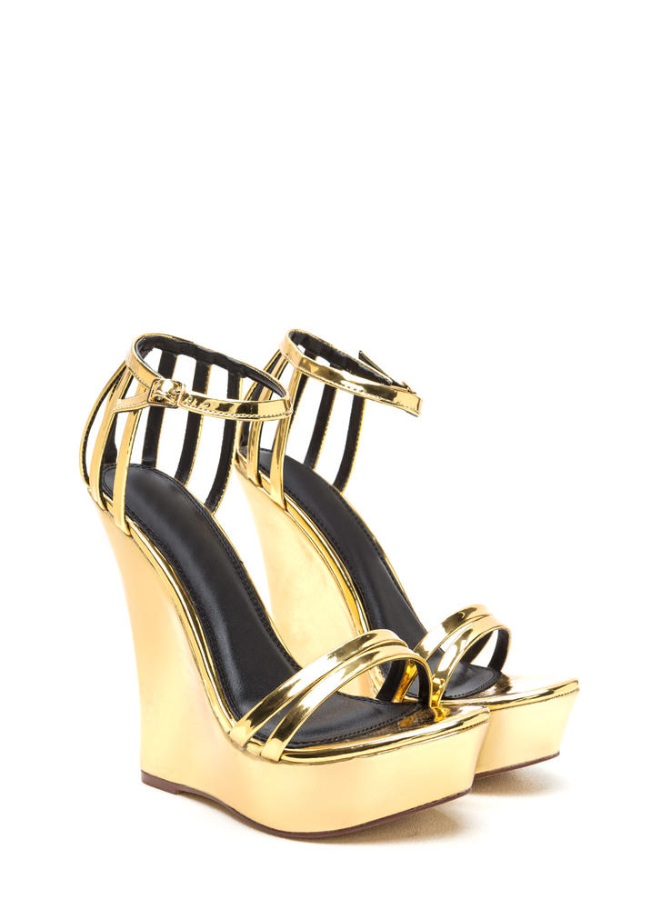 Sky's The Limit Strappy Metallic Wedges GOLD