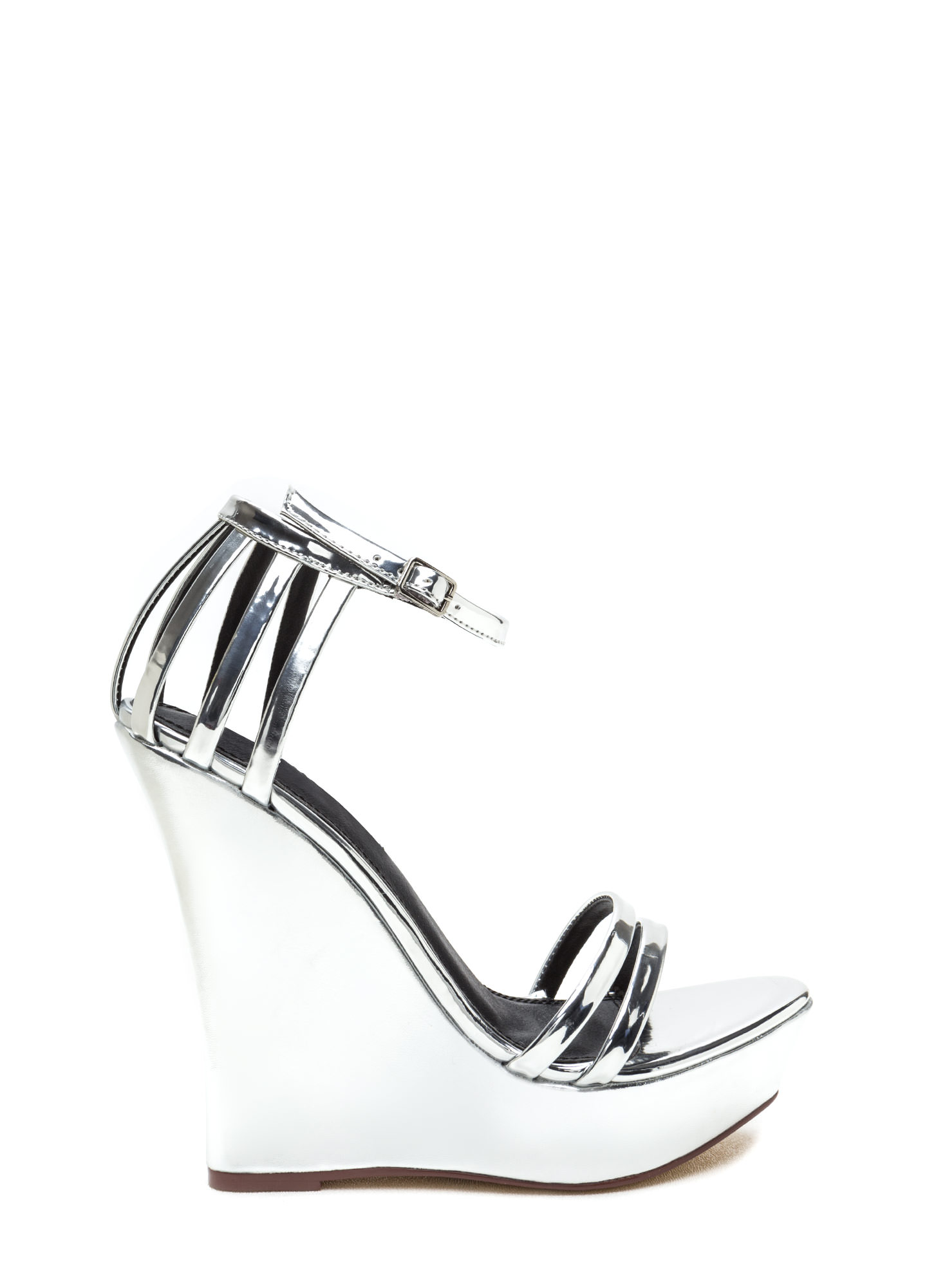 Sky's The Limit Strappy Metallic Wedges SILVER