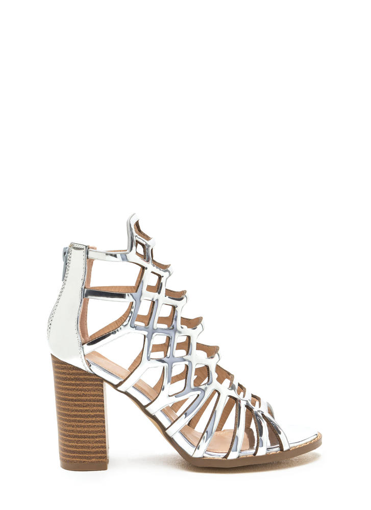 Gleam Come True Caged Metallic Heels