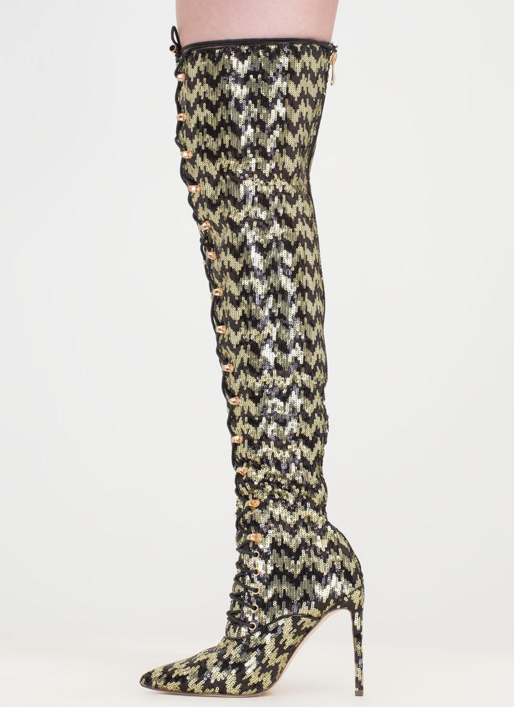 Walk Tall' Zigzag Sequin Pointy Thigh-High Lace-Up Boots - Black ...