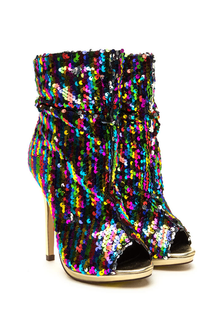 Party Perf Slouchy Pointy Sequin Booties RAINBOW