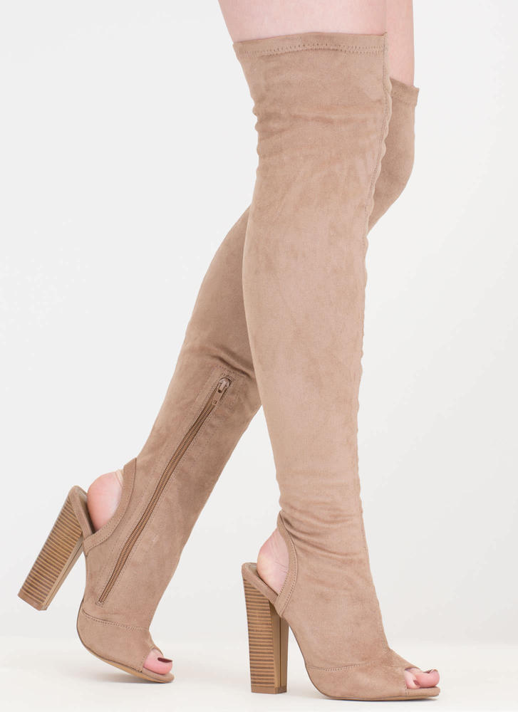 Model Life Over-The-Knee Peep-Toe Boots