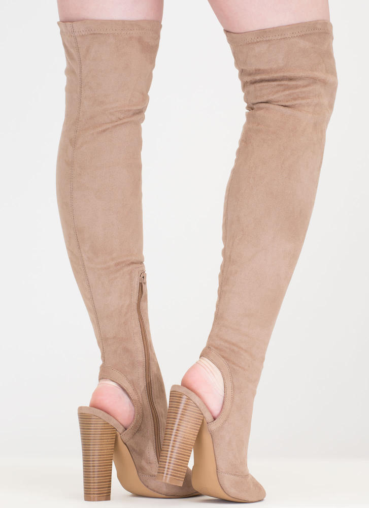 Model Life Over-The-Knee Peep-Toe Boots TAUPE