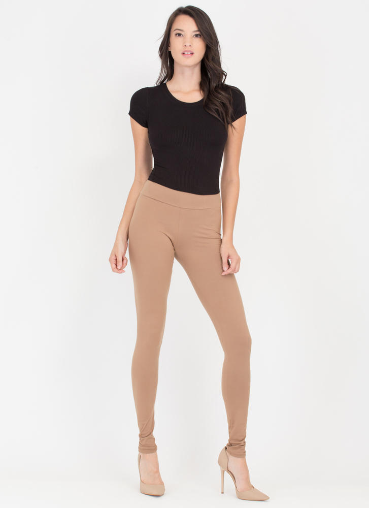 Back 2 Basics Knit Leggings MOCHA