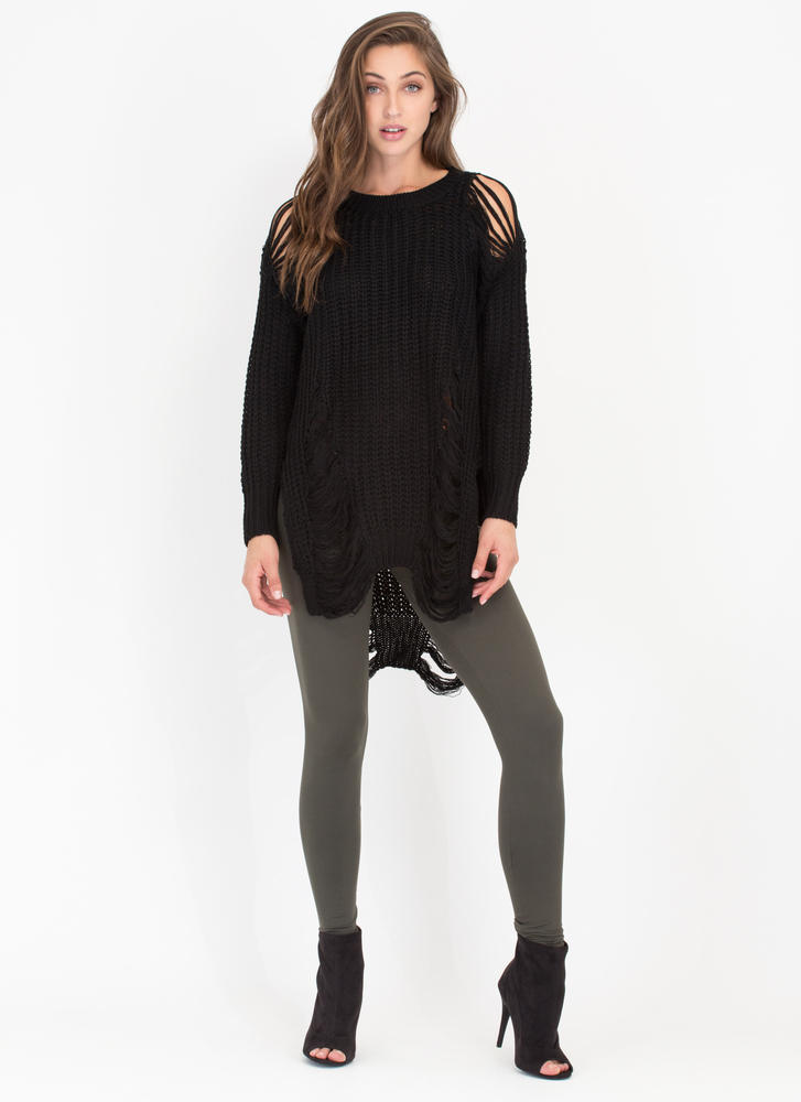 Shred-y To Go Chunky Distressed Sweater BLACK