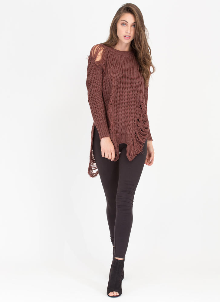 Shred-y To Go Chunky Distressed Sweater BROWN