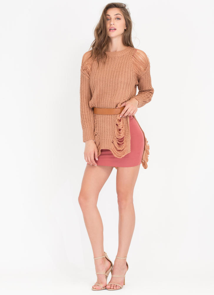 Shred-y To Go Chunky Distressed Sweater TAN