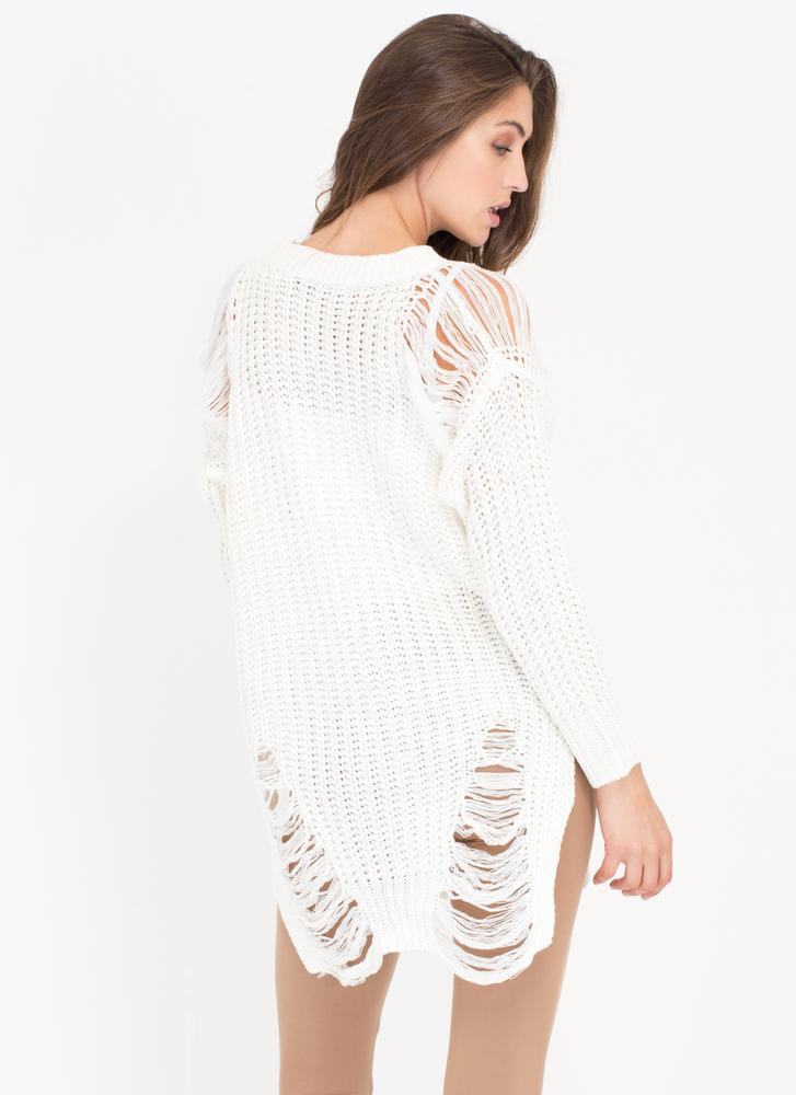 Shred-y To Go Chunky Distressed Sweater WHITE
