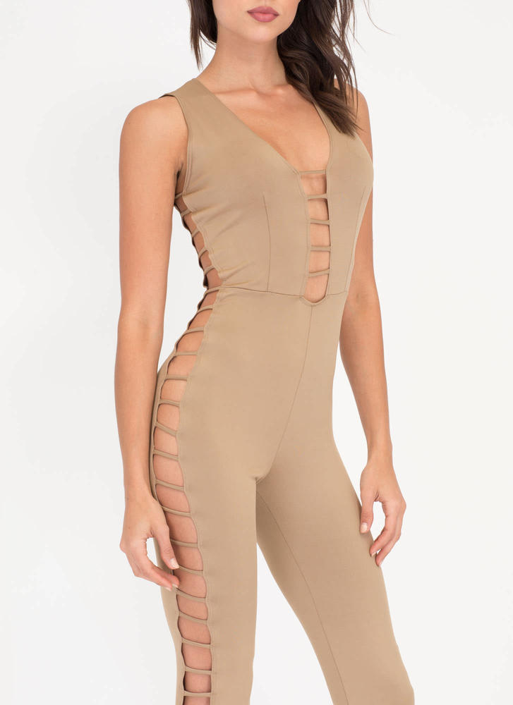 Rung Number Caged Flare Jumpsuit MOCHA