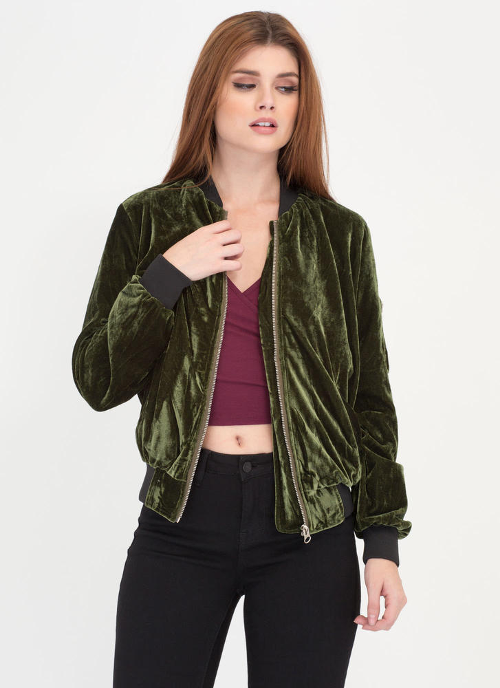 Warm To Hot Velvet Bomber Jacket OLIVE
