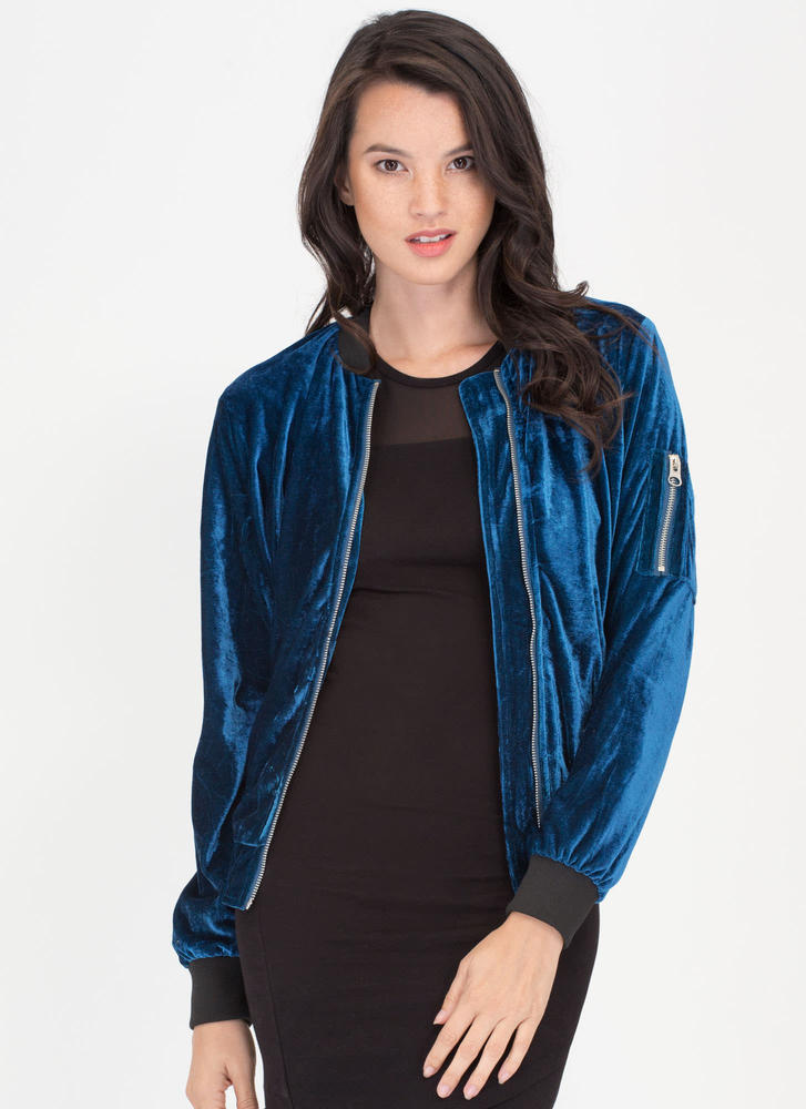 Warm To Hot Velvet Bomber Jacket TEAL
