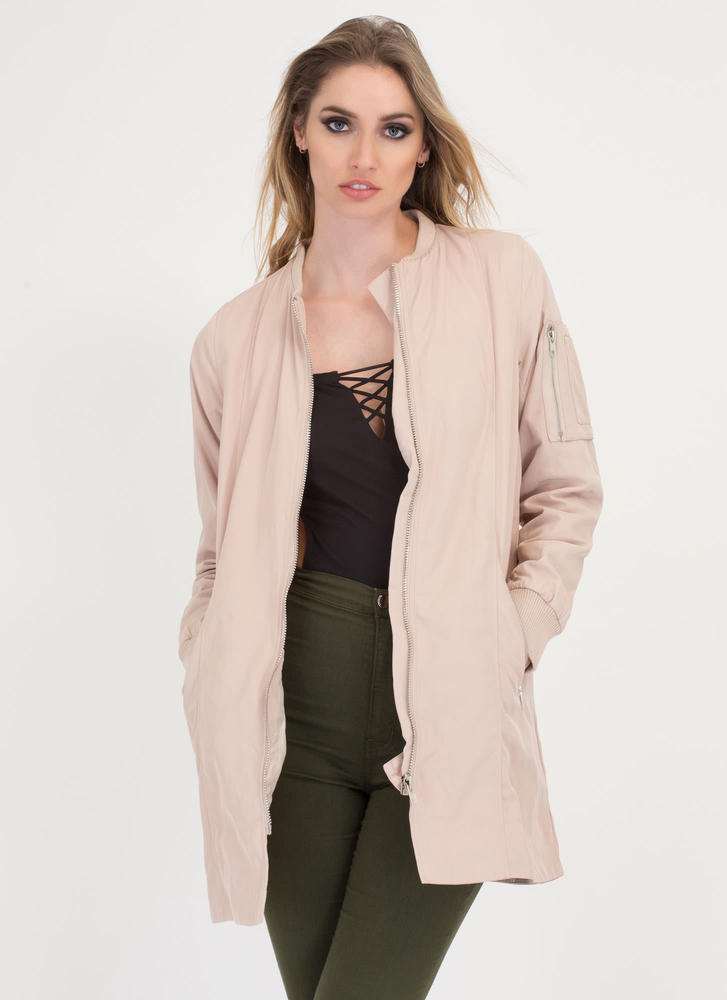 Long Distance Relationship Bomber Jacket TAUPE
