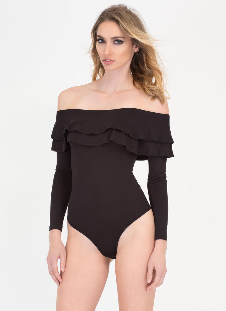 Two Ruffled Off-Shoulder Thong Bodysuit BLACK
