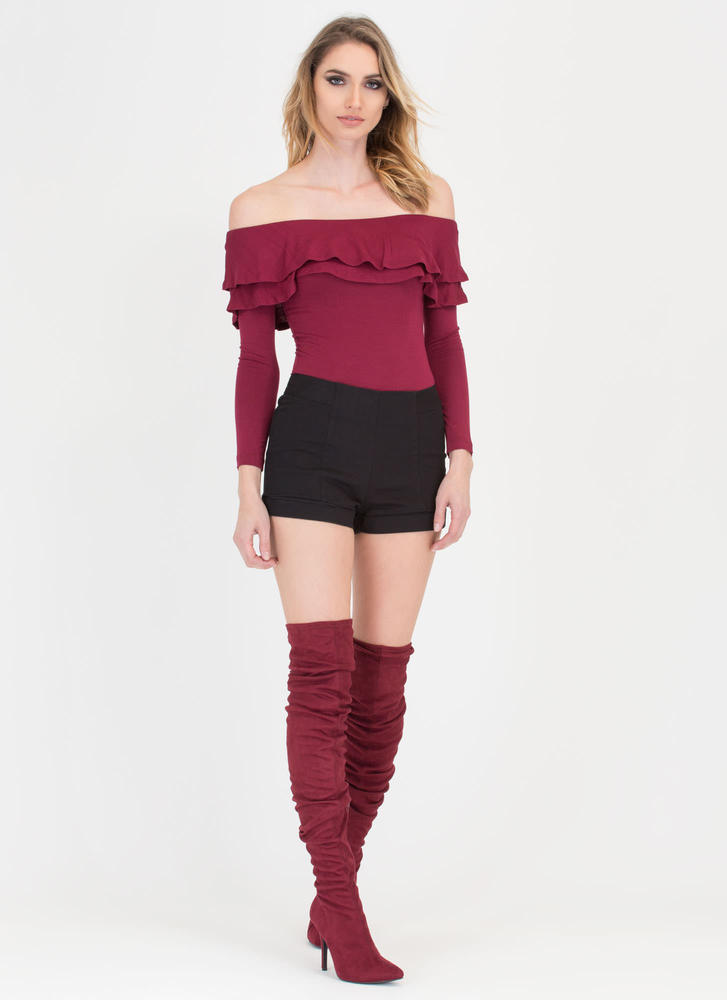 Two Ruffled Off-Shoulder Thong Bodysuit BURGUNDY