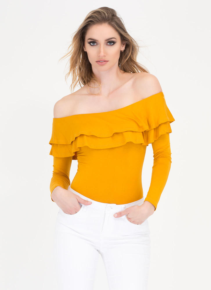 Two Ruffled Off-Shoulder Thong Bodysuit MUSTARD