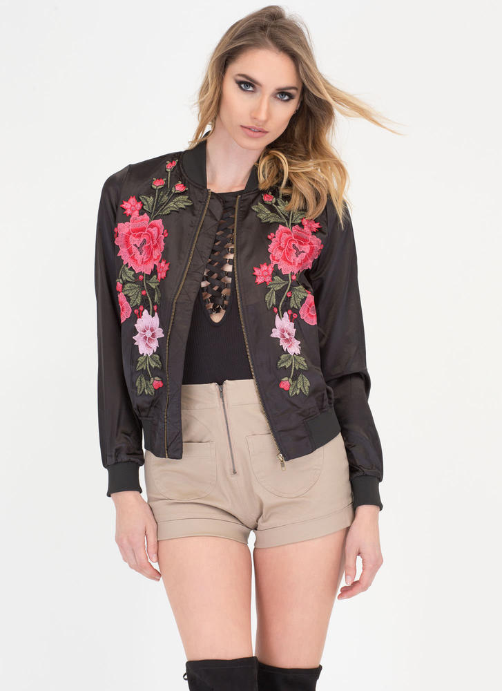 Blossom Buddy Satin Bomber Jacket