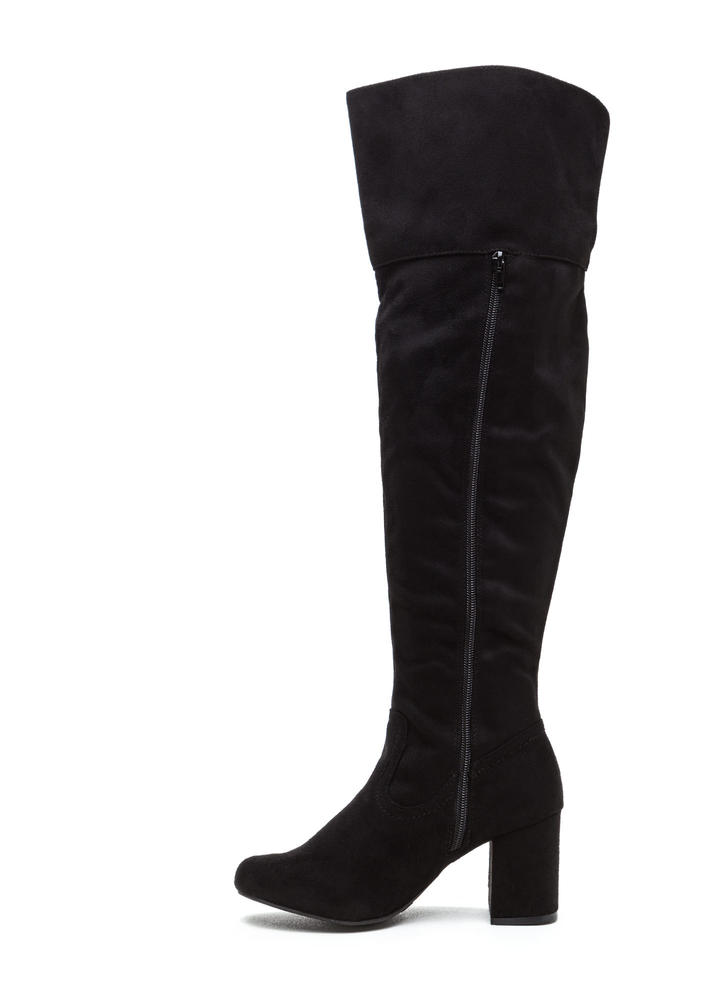 Edge Of Glory Over-The-Knee Boots BLACK
