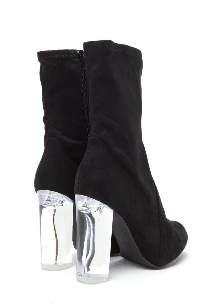 Clear Your Mind Chunky Lucite Booties  BLACK