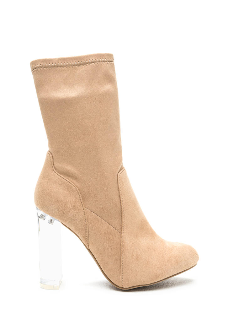 Clear Your Mind Chunky Lucite Booties  NATURAL