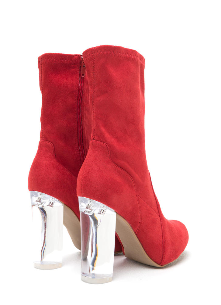 Clear Your Mind Chunky Lucite Booties  RED