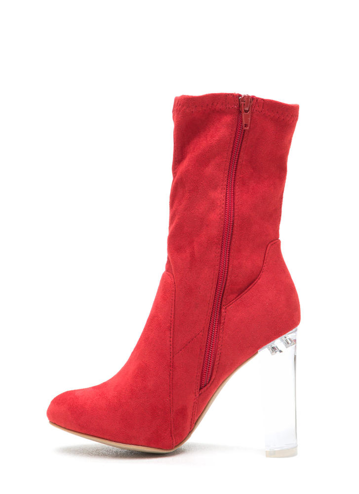 Clear Your Mind Chunky Lucite Booties  RED (Final Sale)