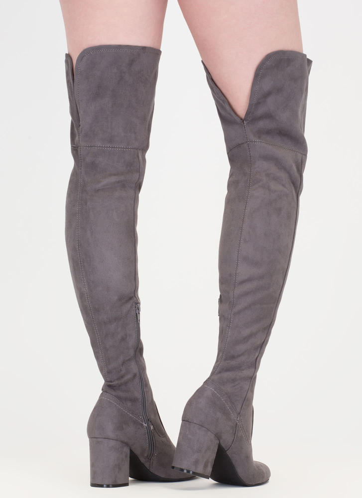 Slit Decision Thigh-High Chunky Boots DKGREY