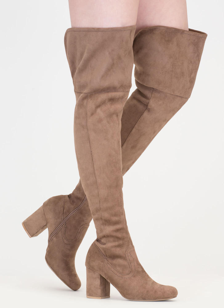 Slit Decision Thigh-High Chunky Boots