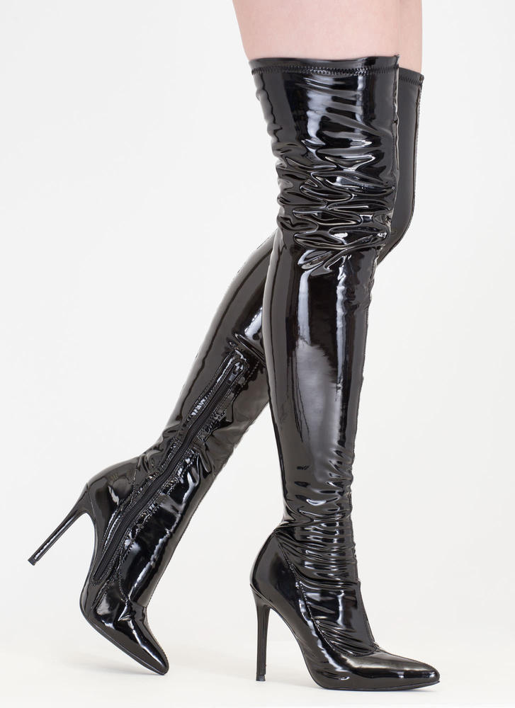 Long Story Chic Faux Patent Boots BLACK